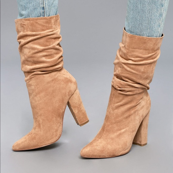 f62c16ee972d LULU S PAOLINA NUDE SLOUCHY MID-CALF BOOTS